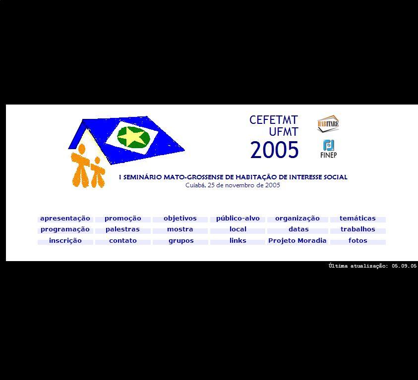 Folha de rosto trabalhos apresentação objetivos programação promoção