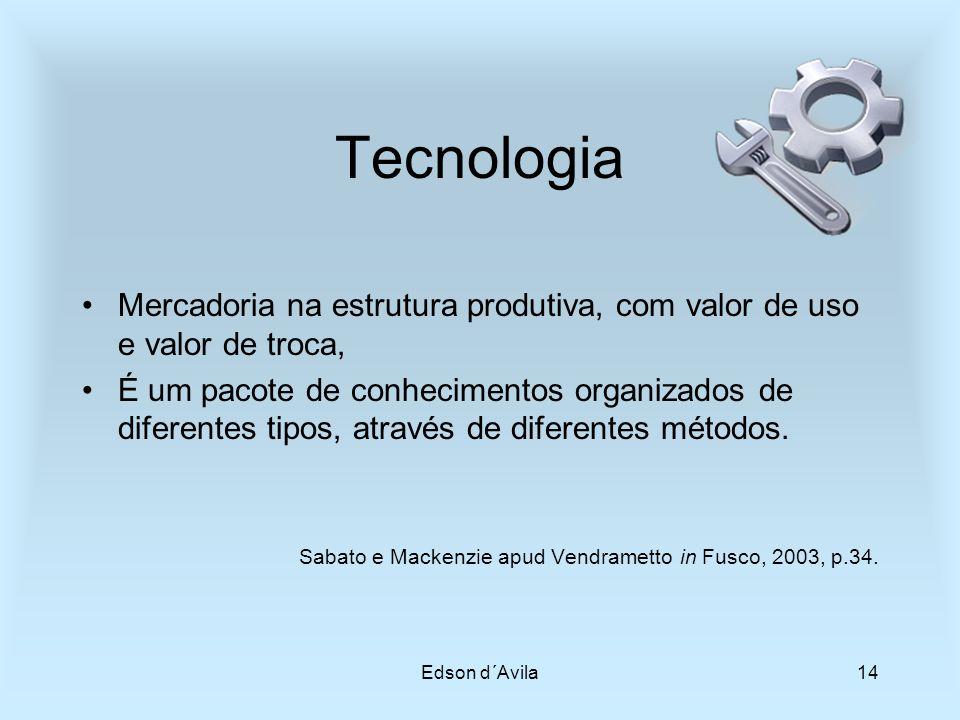 Tecnologia Mercadoria na estrutura produtiva, com valor de uso e valor de troca,