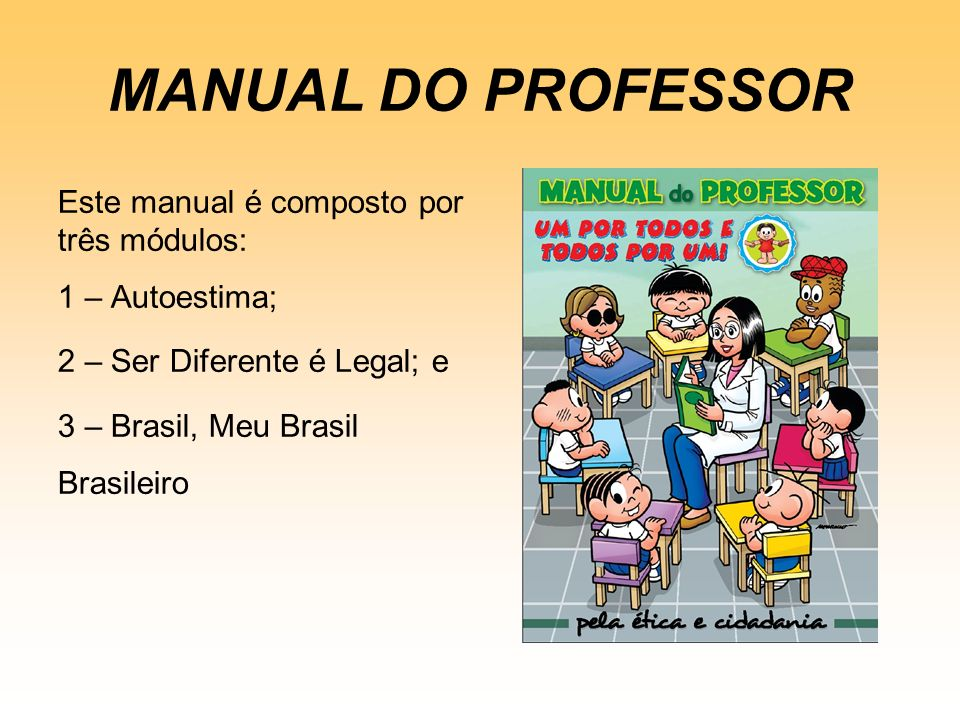 MANUAL DO PROFESSOR Este manual é composto por três módulos: