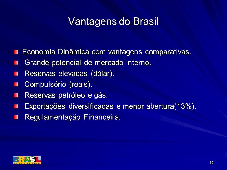 Vantagens do Brasil Economia Dinâmica com vantagens comparativas.