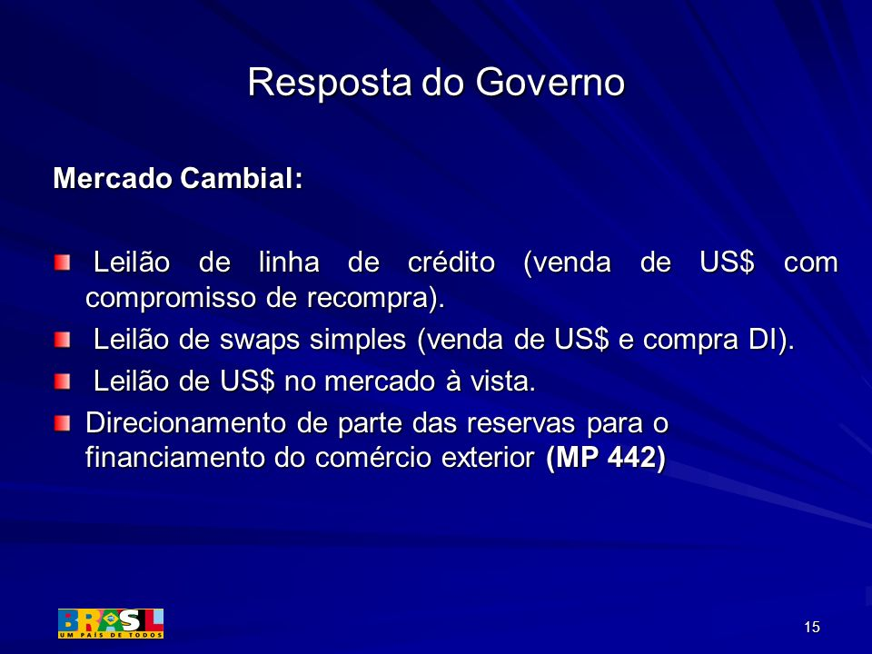 Resposta do Governo Mercado Cambial: