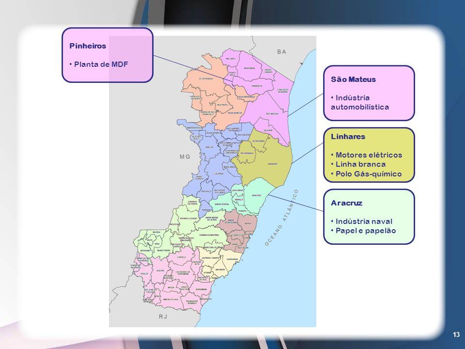 PinheirosPlanta de MDF. São Mateus. Indústria automobilística. Linhares. Motores elétricos. Linha branca.