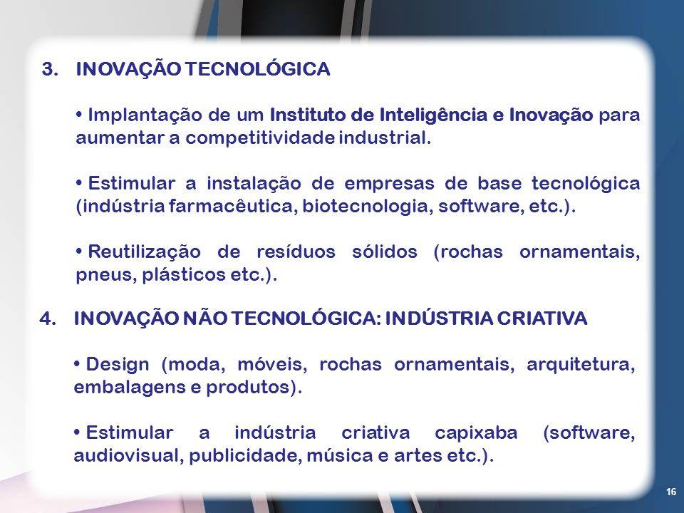INOVAÇÃO TECNOLÓGICAImplantação de um Instituto de Inteligência e Inovação para aumentar a competitividade industrial.