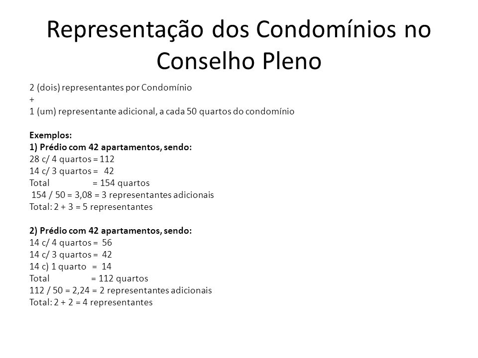 Representação dos Condomínios no Conselho Pleno