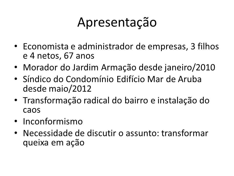 Apresentação Economista e administrador de empresas, 3 filhos e 4 netos, 67 anos. Morador do Jardim Armação desde janeiro/2010.