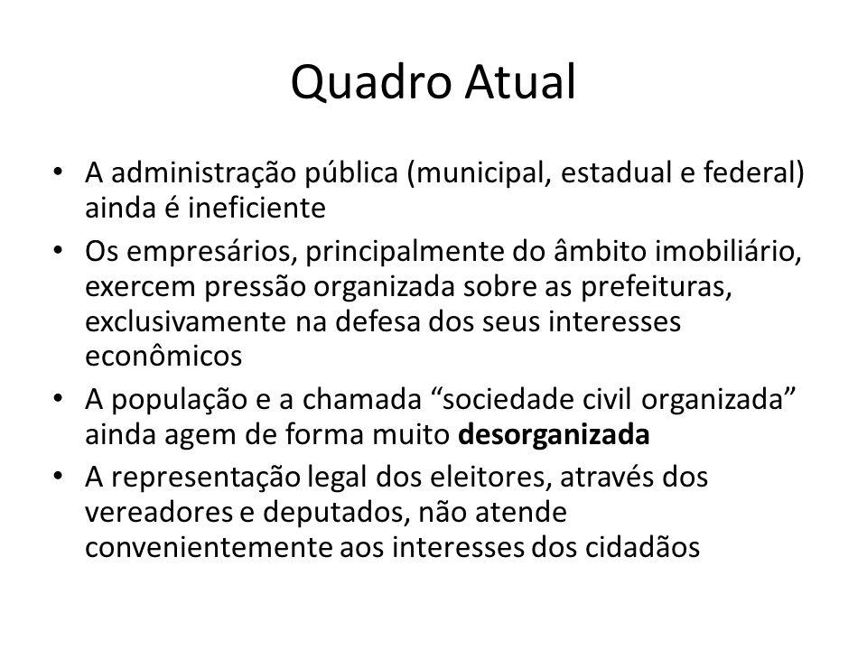 Quadro Atual A administração pública (municipal, estadual e federal) ainda é ineficiente.