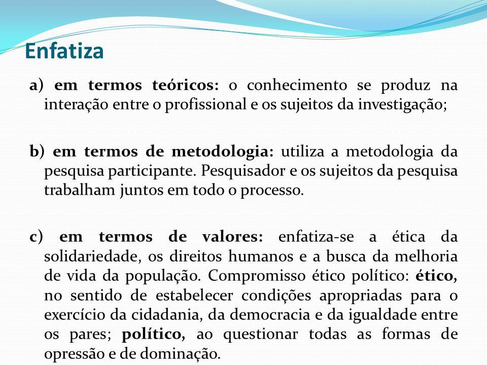 Enfatiza a) em termos teóricos: o conhecimento se produz na interação entre o profissional e os sujeitos da investigação;