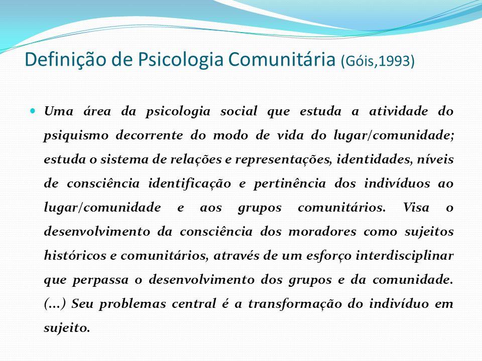 Definição de Psicologia Comunitária (Góis,1993)