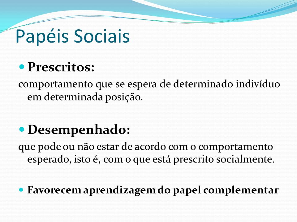 Papéis Sociais Prescritos: Desempenhado: