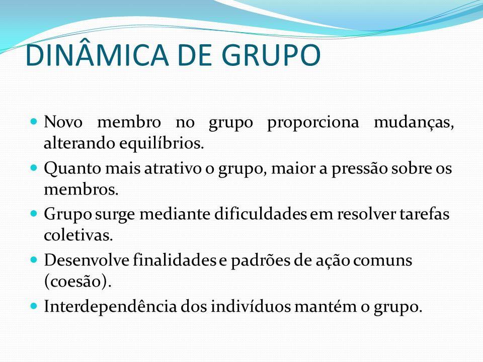 DINÂMICA DE GRUPO Novo membro no grupo proporciona mudanças, alterando equilíbrios. Quanto mais atrativo o grupo, maior a pressão sobre os membros.