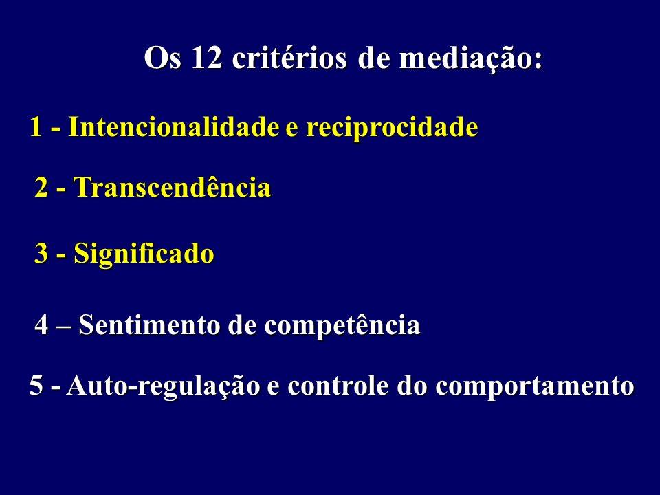 Os 12 critérios de mediação: