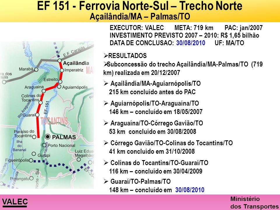 EF 151 - Ferrovia Norte-Sul – Trecho Norte Açailândia/MA – Palmas/TO
