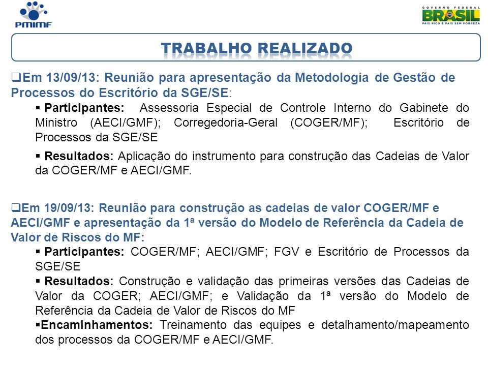 Trabalho realizado Em 13/09/13: Reunião para apresentação da Metodologia de Gestão de Processos do Escritório da SGE/SE: