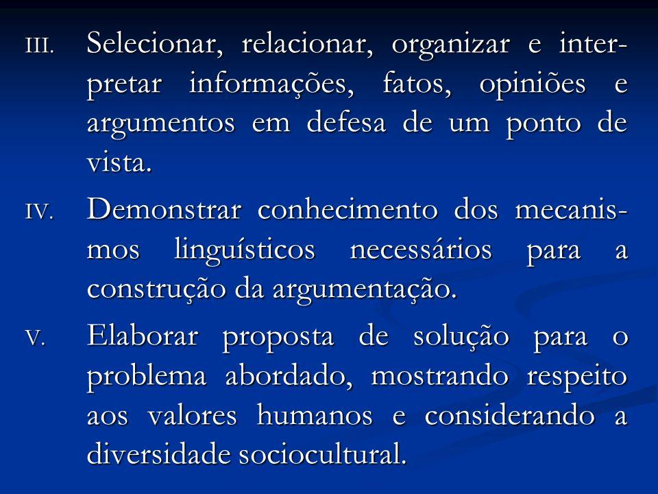 Selecionar, relacionar, organizar e inter-pretar informações, fatos, opiniões e argumentos em defesa de um ponto de vista.