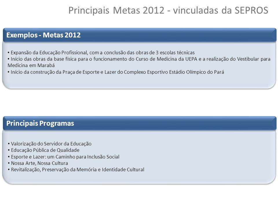 Principais Metas 2012 - vinculadas da SEPROS