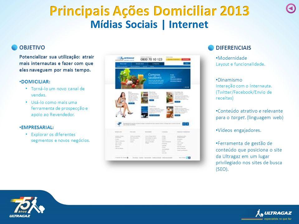 Principais Ações Domiciliar 2013 Mídias Sociais | Internet
