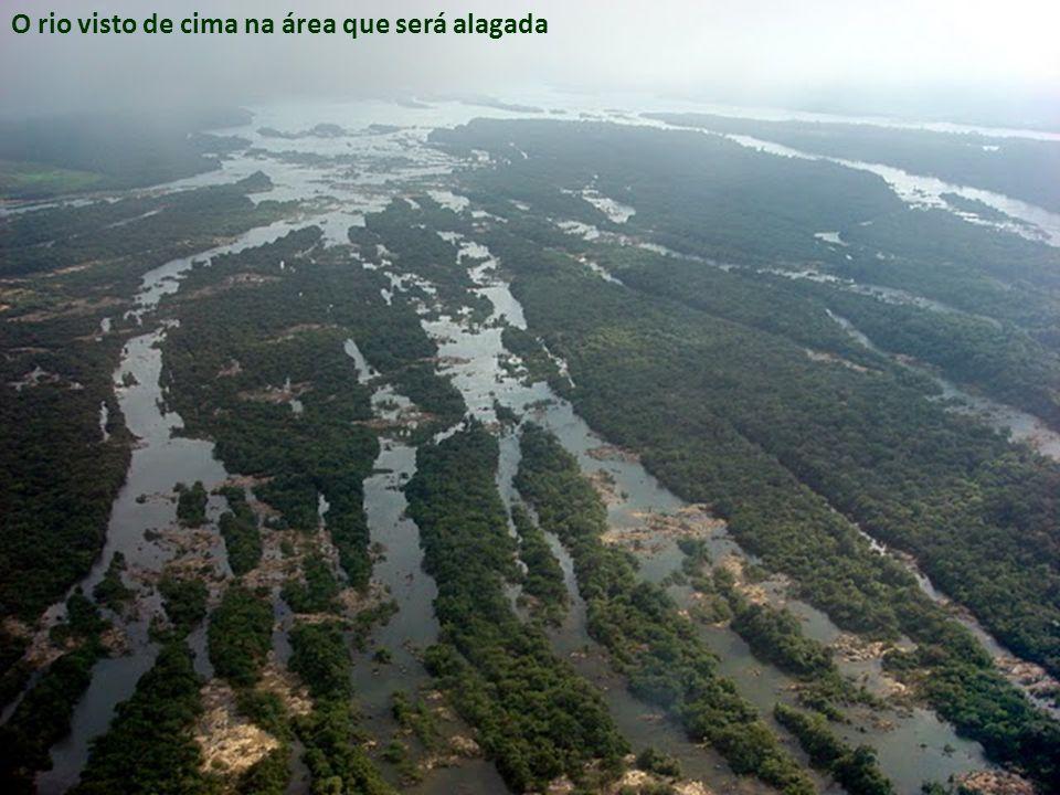 O rio visto de cima na área que será alagada