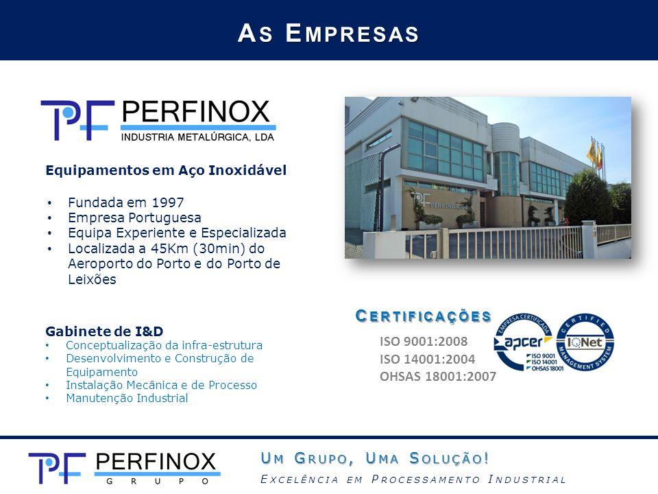 As Empresas Certificações ISO 9001:2008 ISO 14001:2004