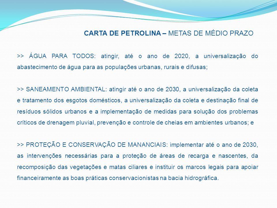 CARTA DE PETROLINA – METAS DE MÉDIO PRAZO