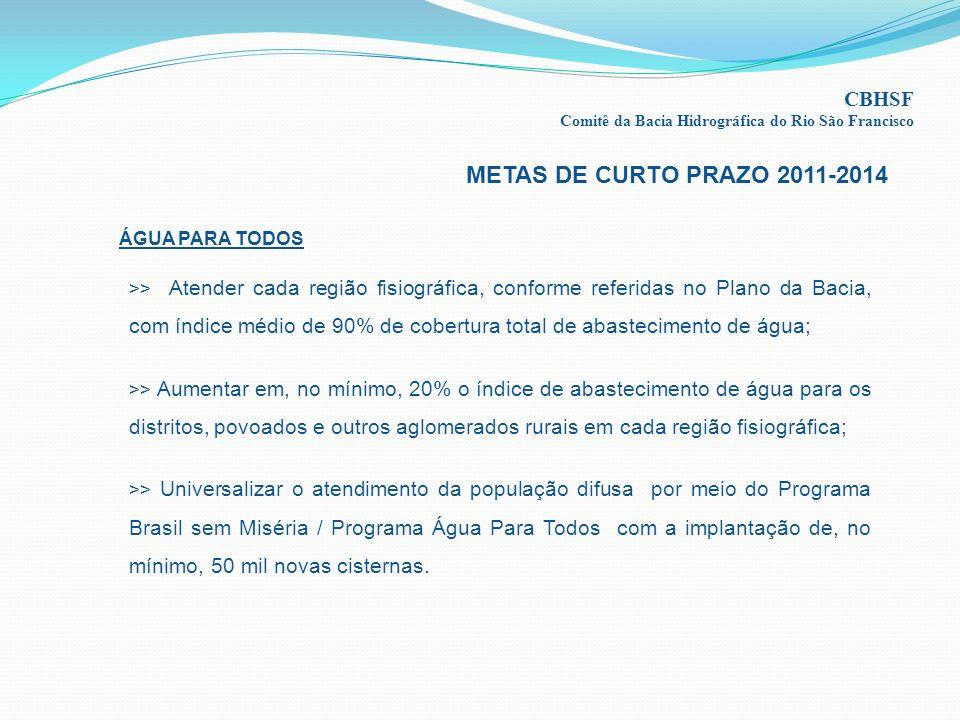 METAS DE CURTO PRAZO 2011-2014 CBHSF ÁGUA PARA TODOS