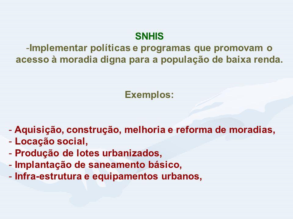 SNHIS Implementar políticas e programas que promovam o acesso à moradia digna para a população de baixa renda.