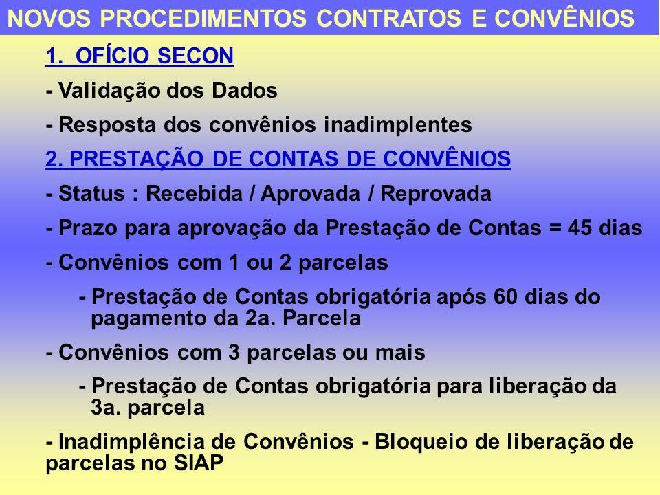 NOVOS PROCEDIMENTOS CONTRATOS E CONVÊNIOS