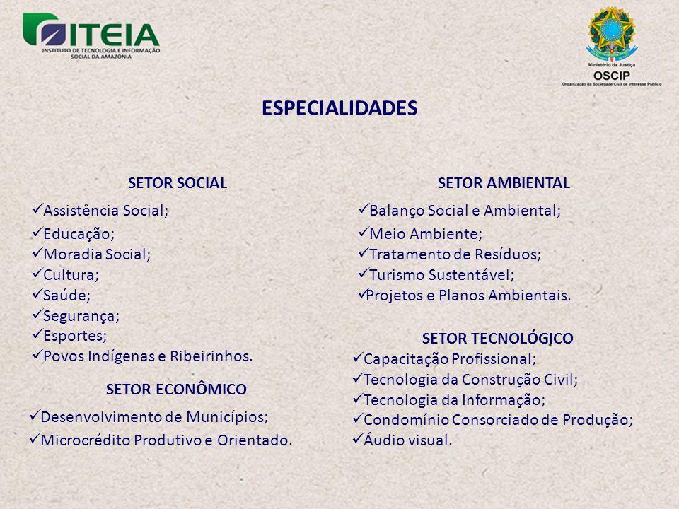 ESPECIALIDADES SETOR SOCIAL Assistência Social; Educação;