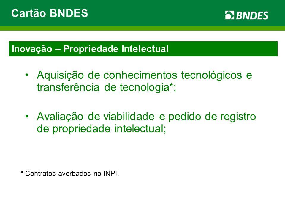 Cartão BNDES Aquisição de conhecimentos tecnológicos e transferência de tecnologia*;