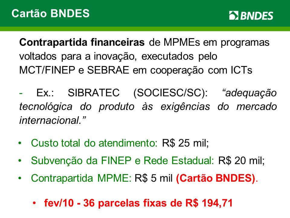 Cartão BNDES Custo total do atendimento: R$ 25 mil;