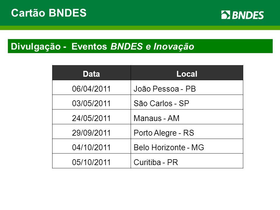 Cartão BNDES Divulgação - Eventos BNDES e Inovação Data Local