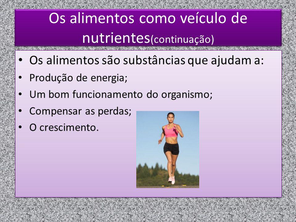 Os alimentos como veículo de nutrientes(continuação)