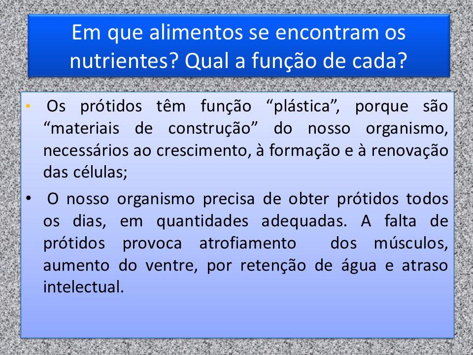 Em que alimentos se encontram os nutrientes Qual a função de cada