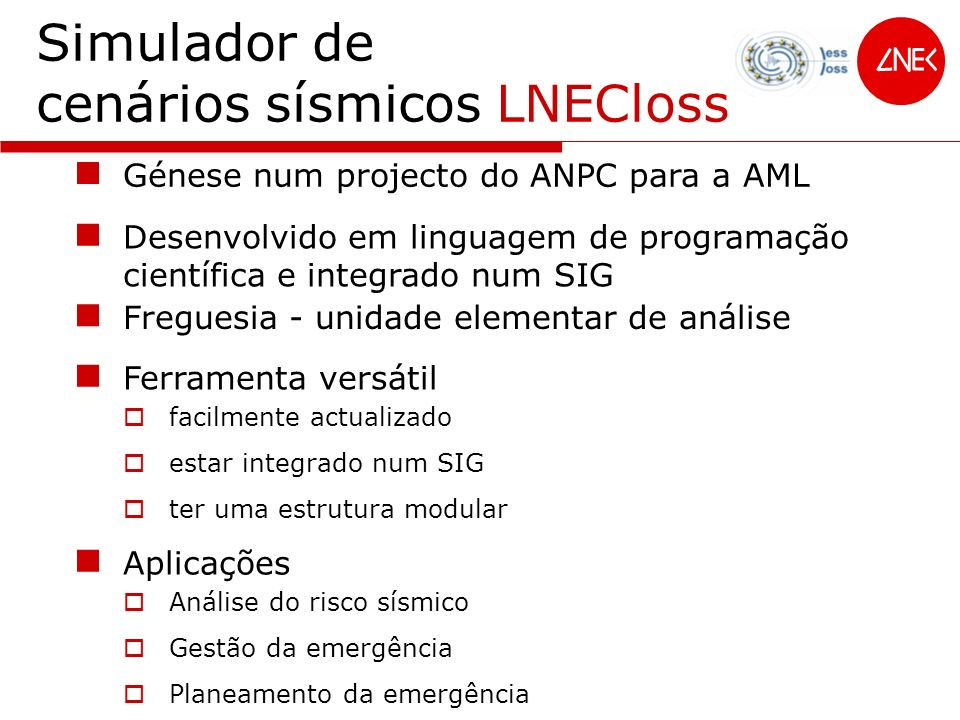 Simulador de cenários sísmicos LNECloss