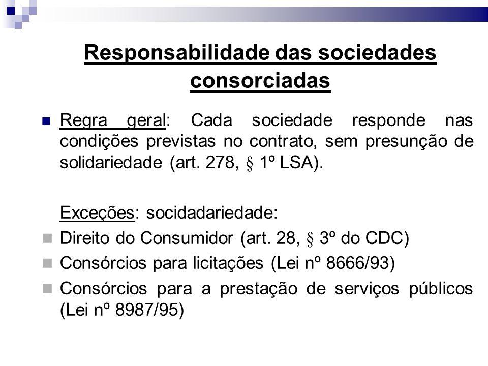 Responsabilidade das sociedades consorciadas