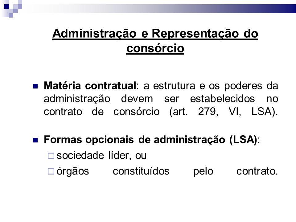 Administração e Representação do consórcio