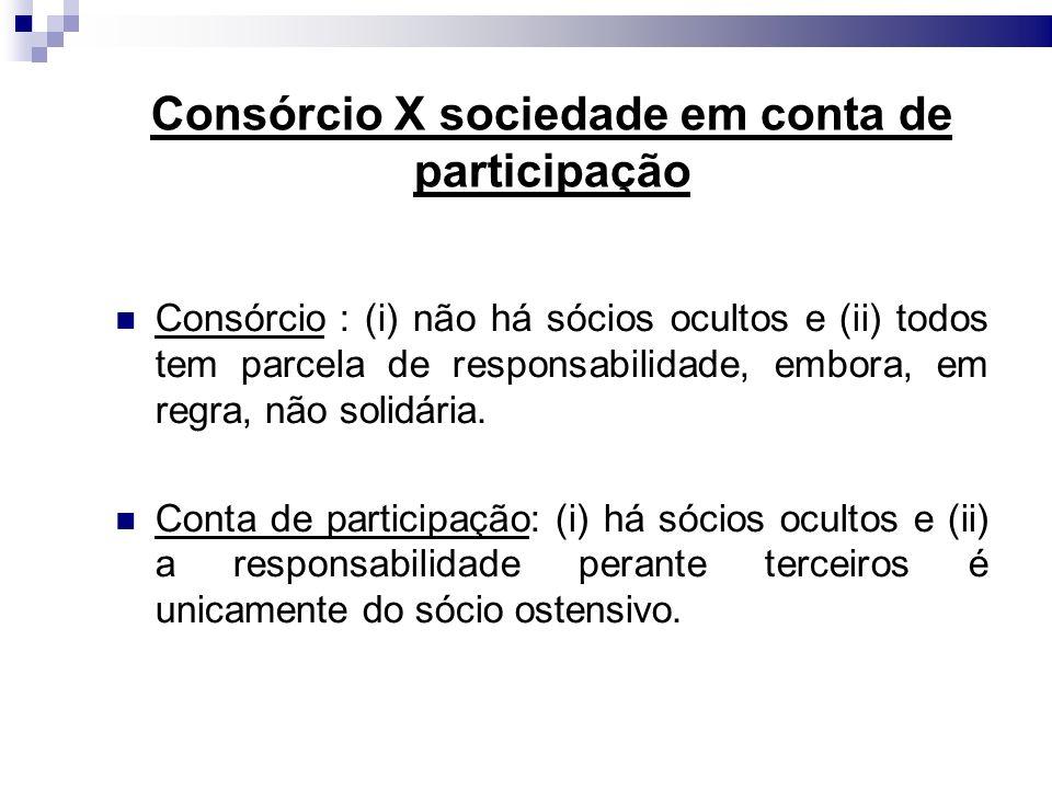 Consórcio X sociedade em conta de participação
