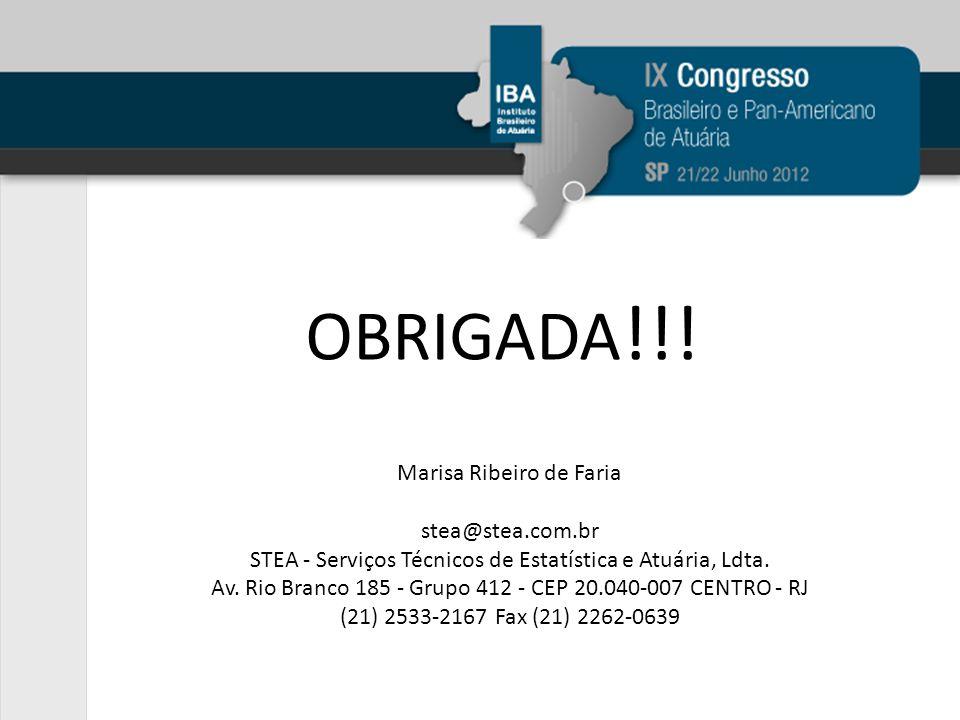 OBRIGADA!!! Marisa Ribeiro de Faria stea@stea.com.br