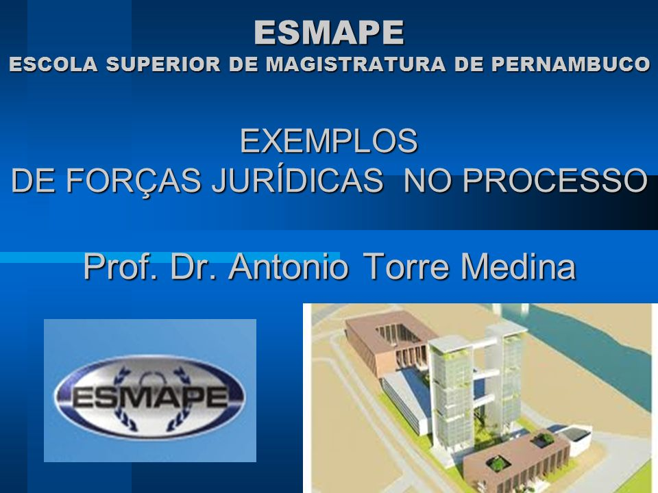 ESMAPE ESCOLA SUPERIOR DE MAGISTRATURA DE PERNAMBUCO EXEMPLOS DE FORÇAS JURÍDICAS NO PROCESSO Prof.