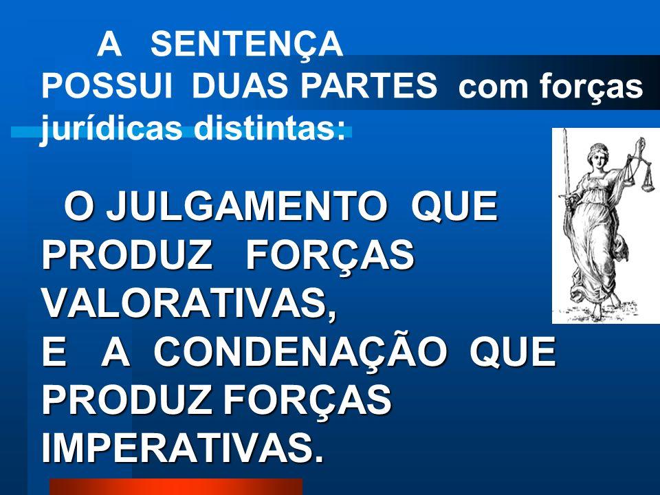 A SENTENÇA POSSUI DUAS PARTES com forças jurídicas distintas: