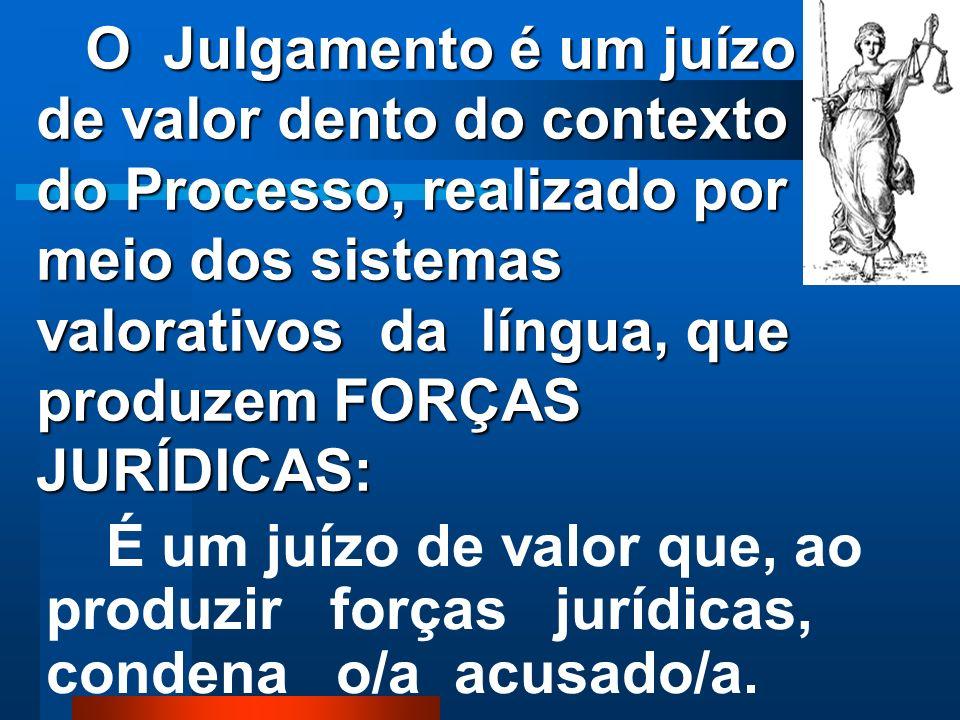 O Julgamento é um juízo de valor dento do contexto do Processo, realizado por meio dos sistemas valorativos da língua, que produzem FORÇAS JURÍDICAS: