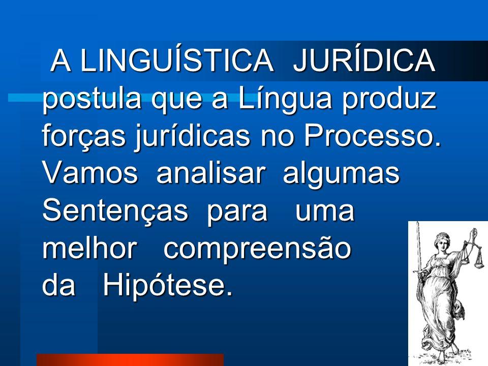 A LINGUÍSTICA JURÍDICA postula que a Língua produz forças jurídicas no Processo.
