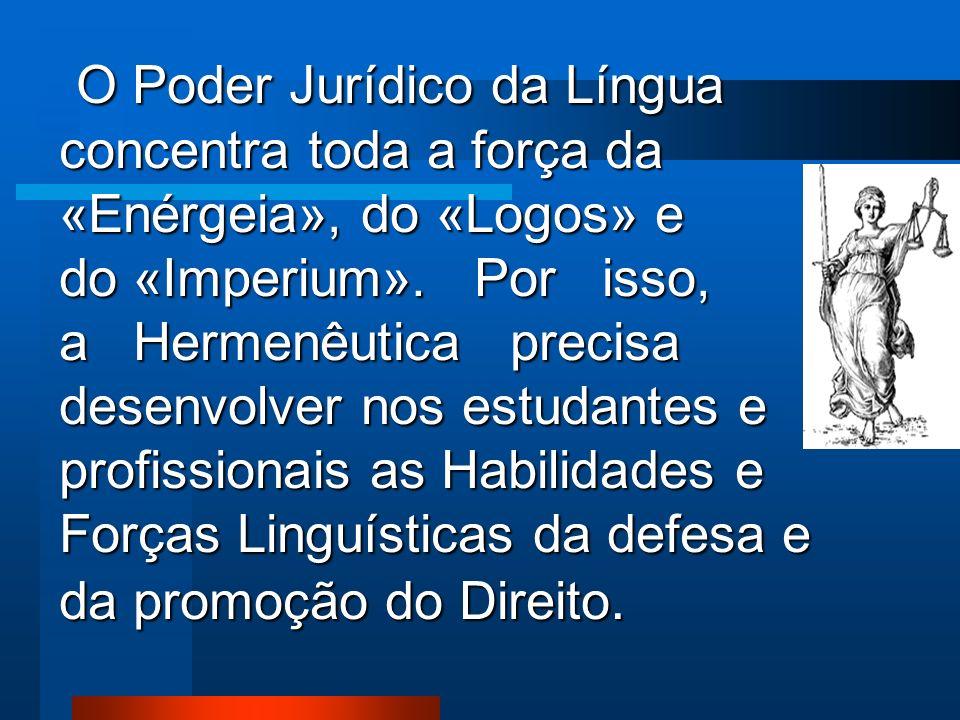 O Poder Jurídico da Língua concentra toda a força da «Enérgeia», do «Logos» e do «Imperium».
