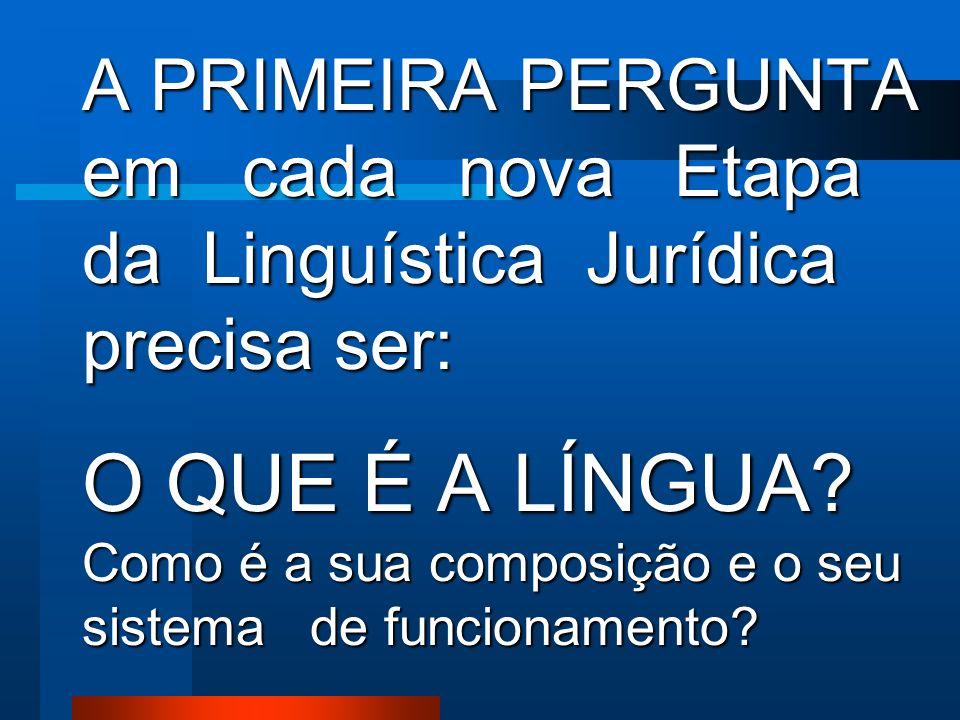 A PRIMEIRA PERGUNTA em cada nova Etapa da Linguística Jurídica precisa ser: O QUE É A LÍNGUA.
