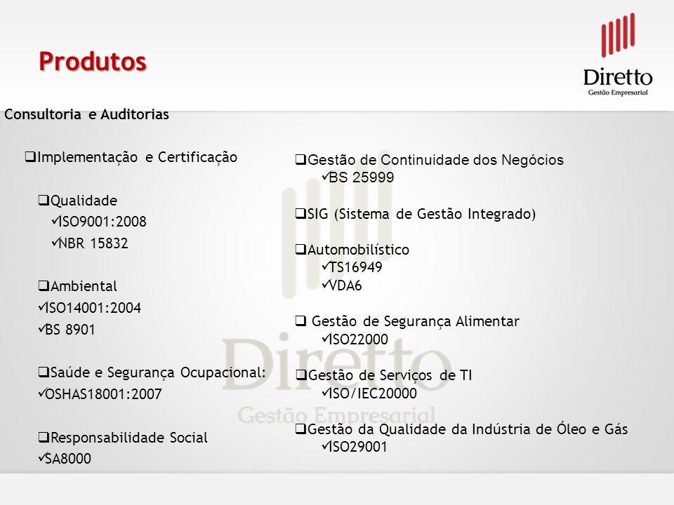 Produtos Consultoria e Auditorias Implementação e Certificação
