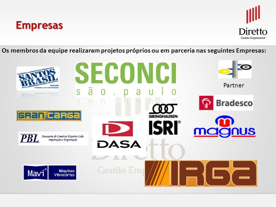 Empresas Os membros da equipe realizaram projetos próprios ou em parceria nas seguintes Empresas: Partner.