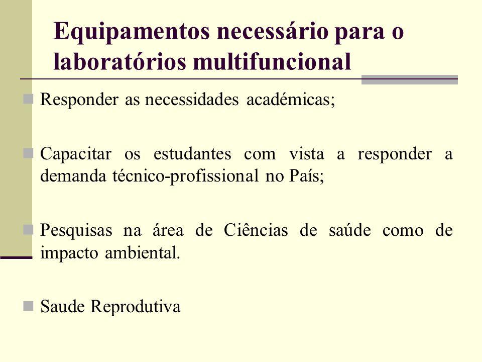 Equipamentos necessário para o laboratórios multifuncional