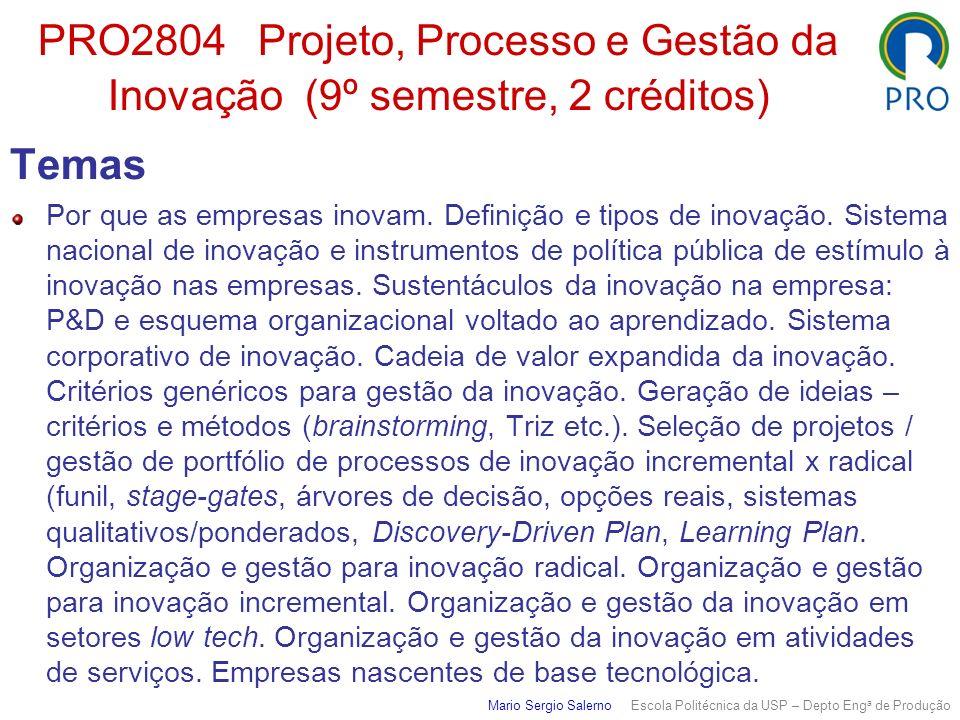 PRO2804 Projeto, Processo e Gestão da Inovação (9º semestre, 2 créditos)