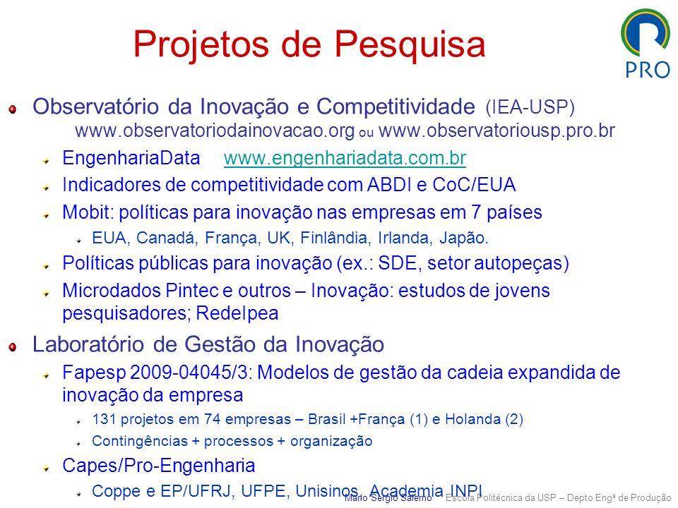 Projetos de Pesquisa Observatório da Inovação e Competitividade (IEA-USP) www.observatoriodainovacao.org ou www.observatoriousp.pro.br.