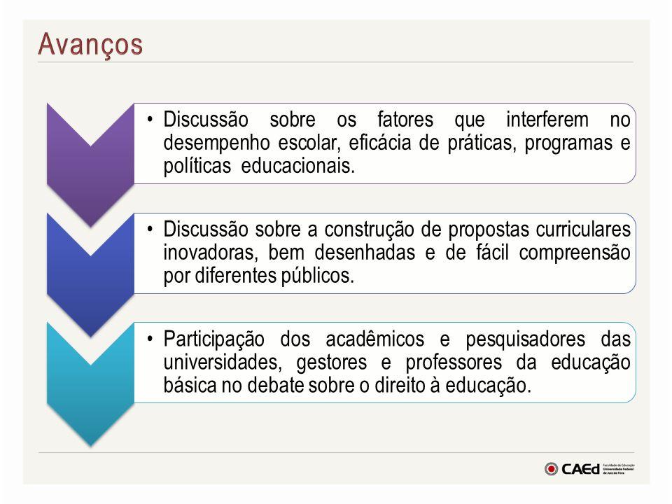 Avanços Discussão sobre os fatores que interferem no desempenho escolar, eficácia de práticas, programas e políticas educacionais.