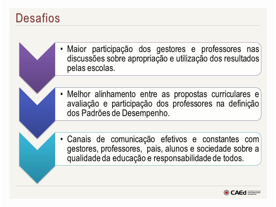 Desafios Maior participação dos gestores e professores nas discussões sobre apropriação e utilização dos resultados pelas escolas.
